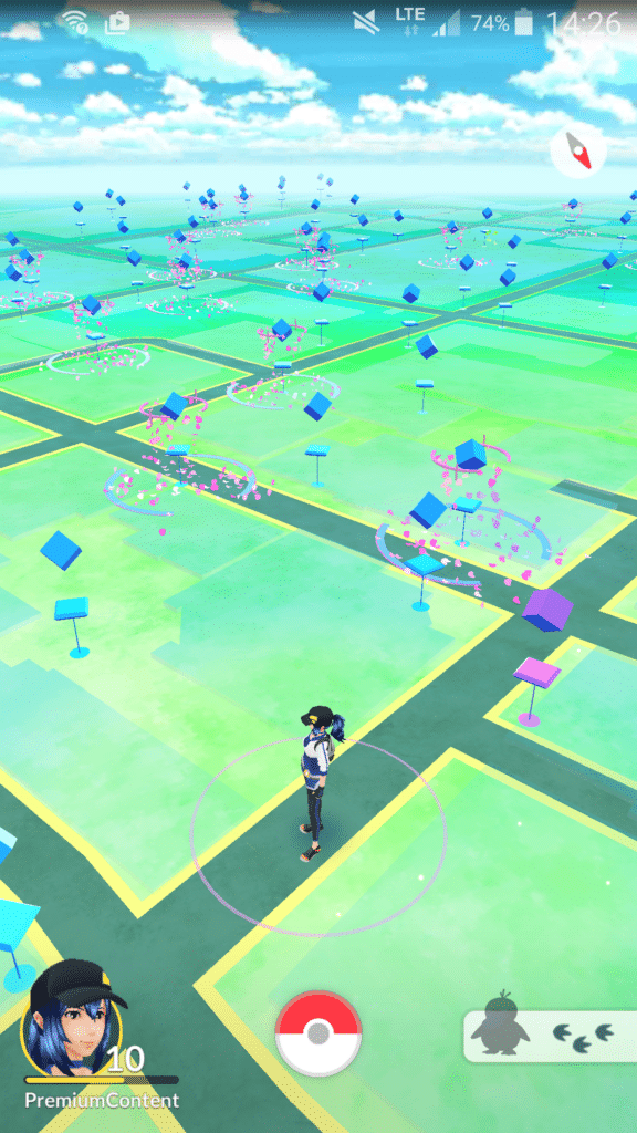 A screenshot from Pokémon Go in July 2016. Nearly every Pokéstop in sight has a lure going.
