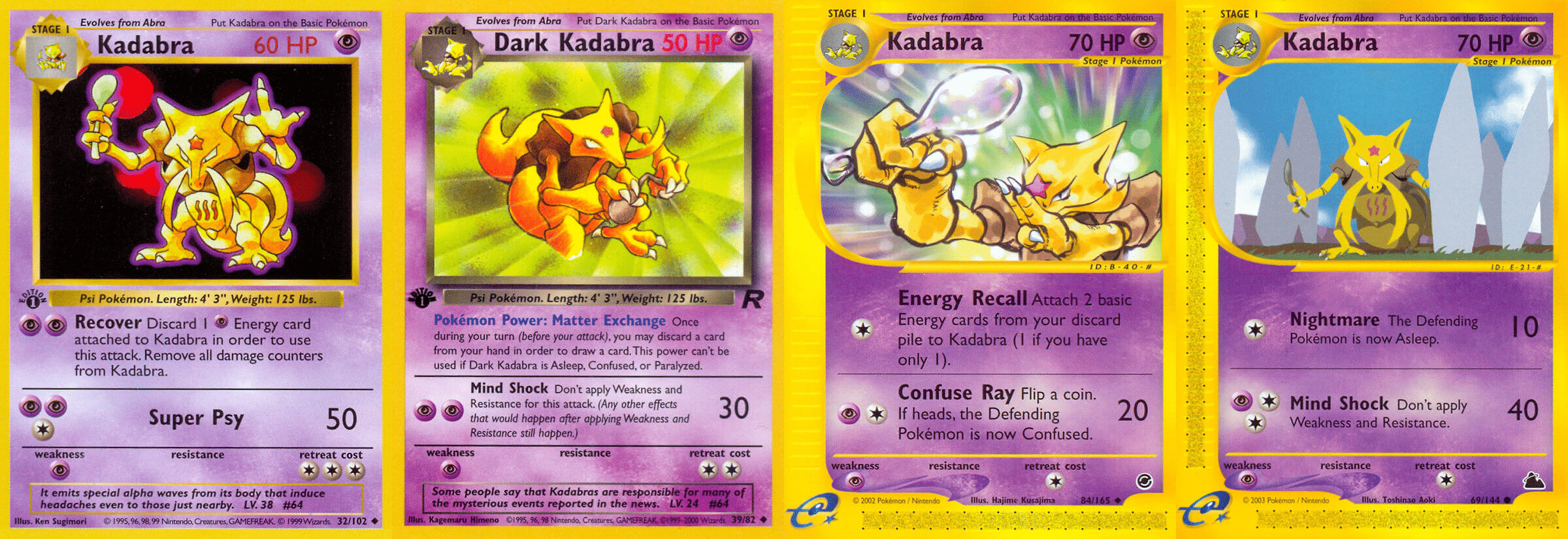 Four versions of Kadabra from the Pokémon Trading Card Game