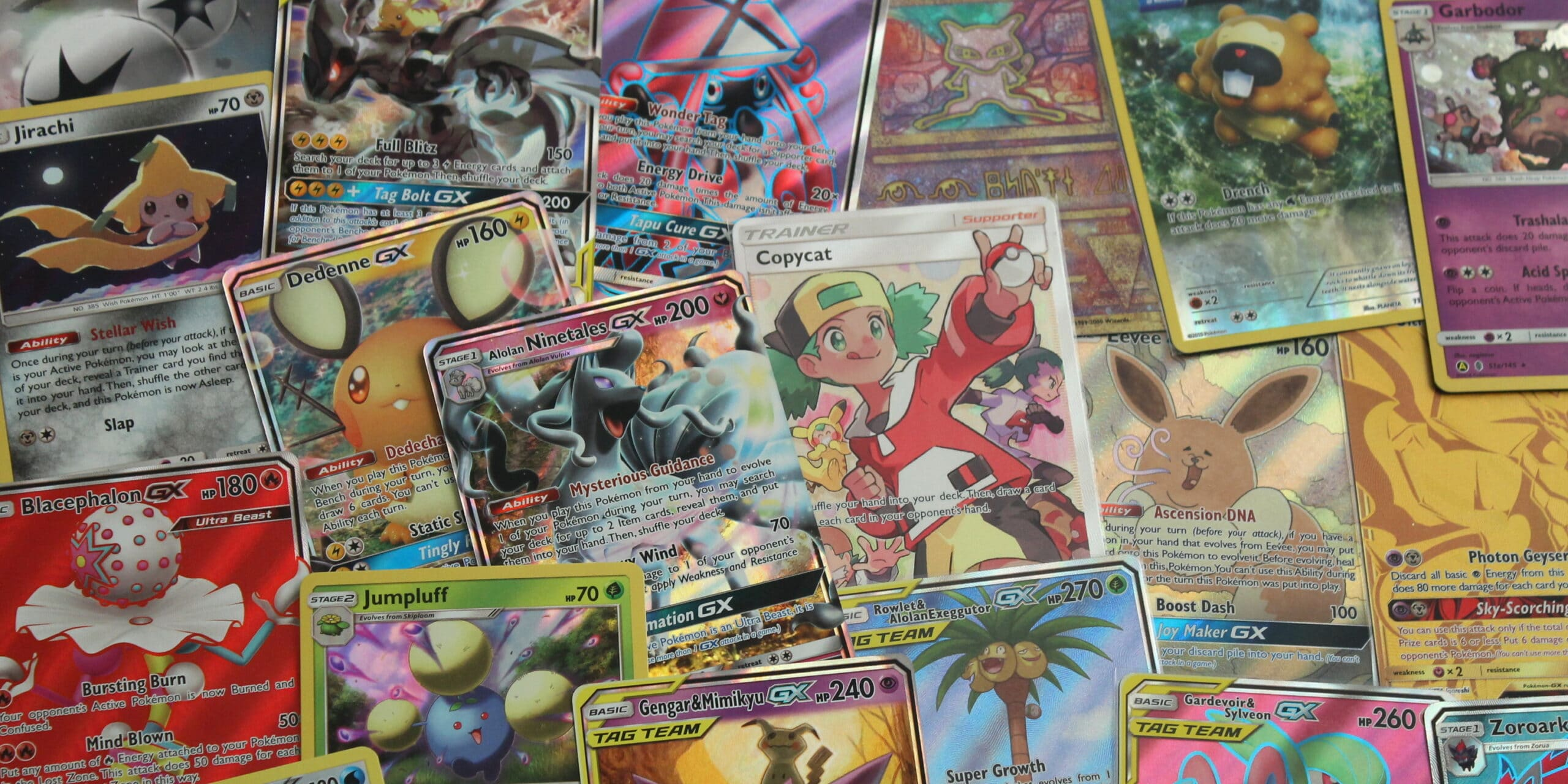 an array of Pokémon cards