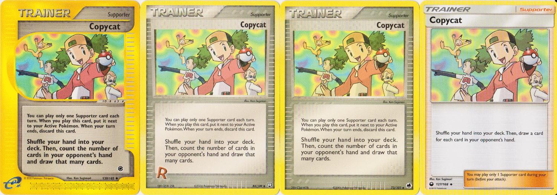 Four versions of the Pokémon card Copycat.
