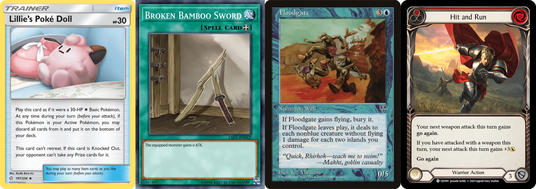 Four cards from TCGs that create actions that mirror the real-world things they reference.