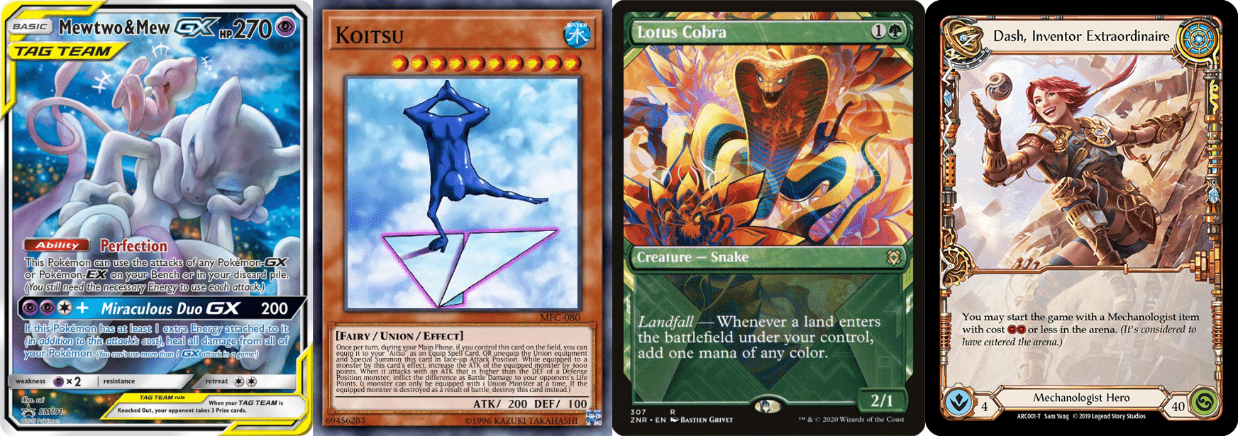 Four cards from TCGs that show off eye-catching art.