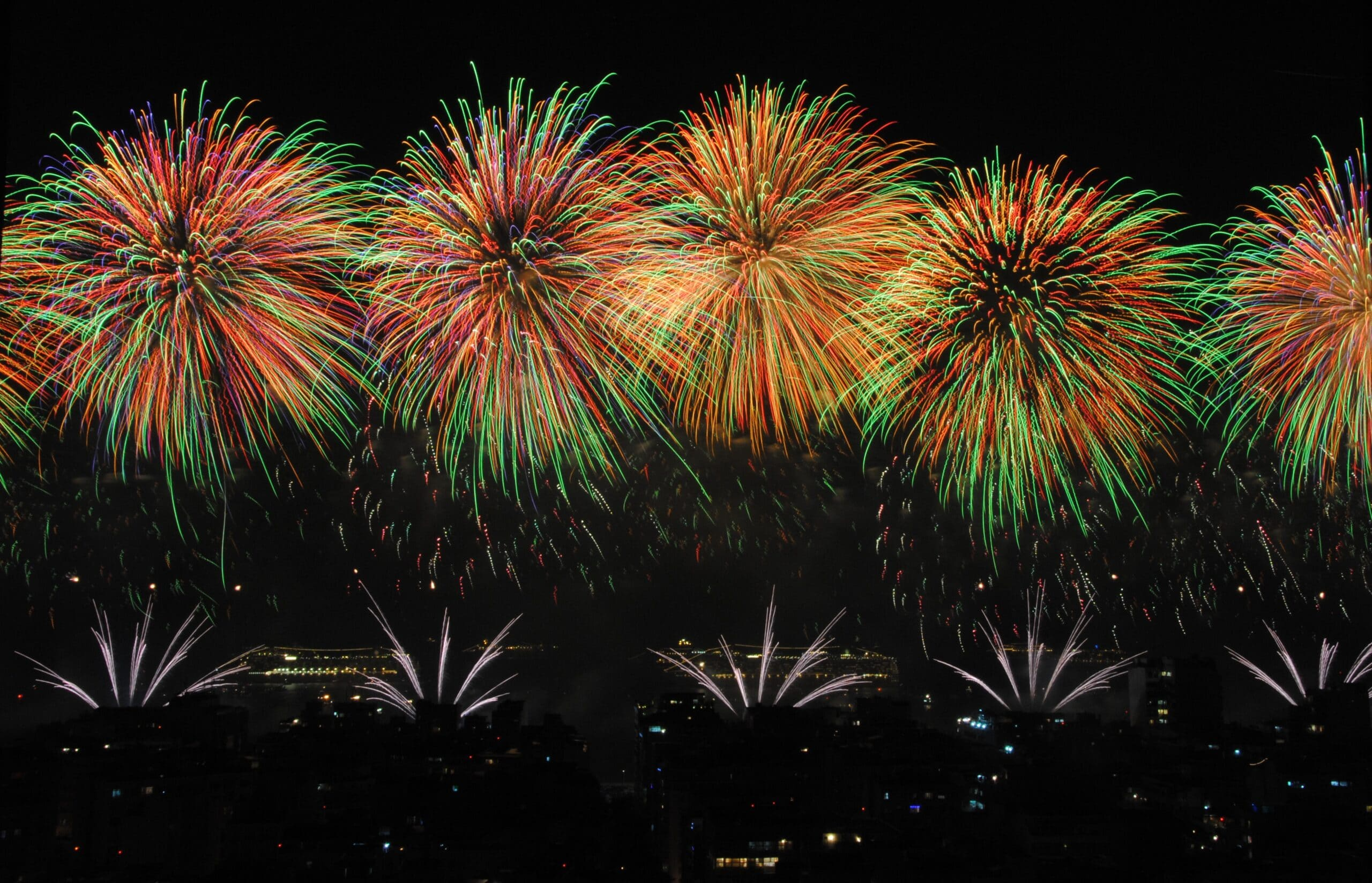 fireworks ring in the new year in Rio de Janeiro