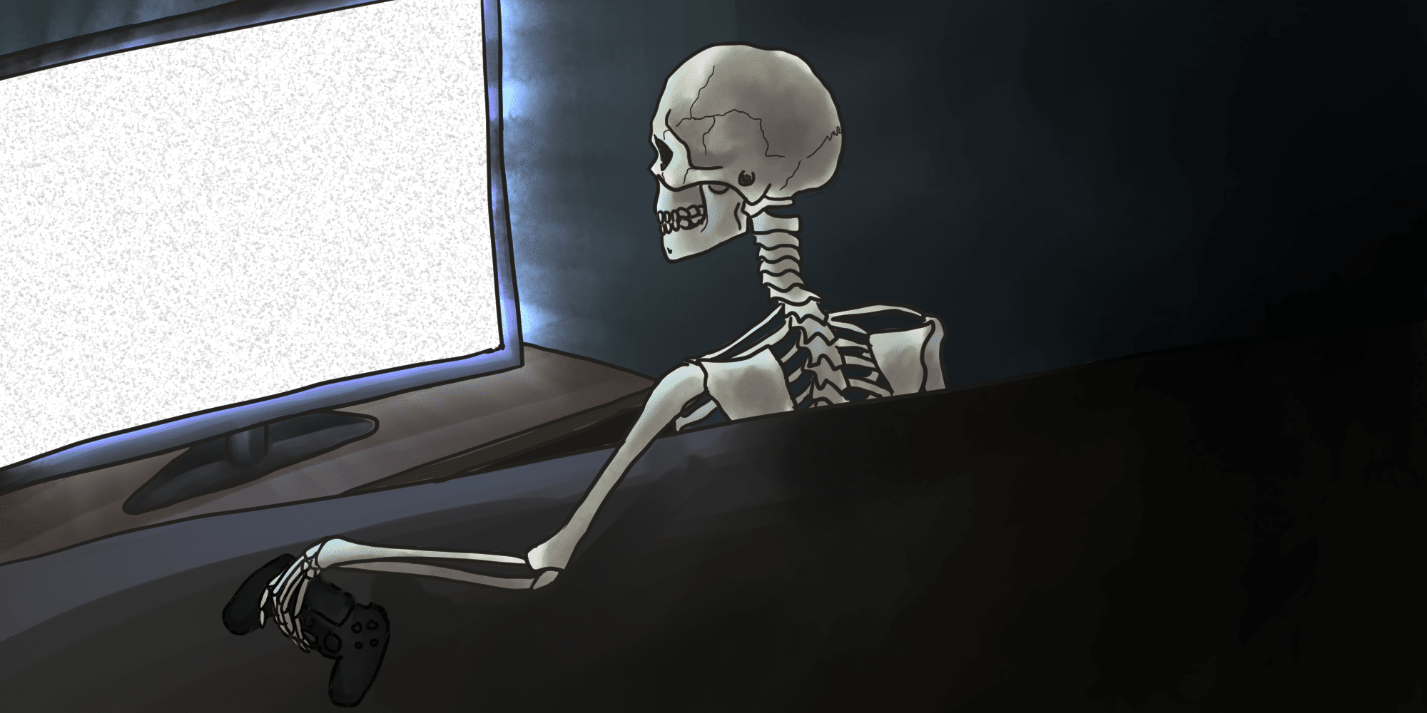 a skeleton holding a video game controller stares at a TV