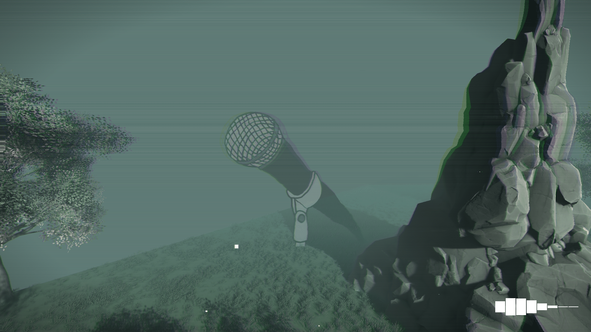 the media are plural logo sits among trees and rocks that are glitching out in a scene from the cyberpunk music visualization tool Metagroove