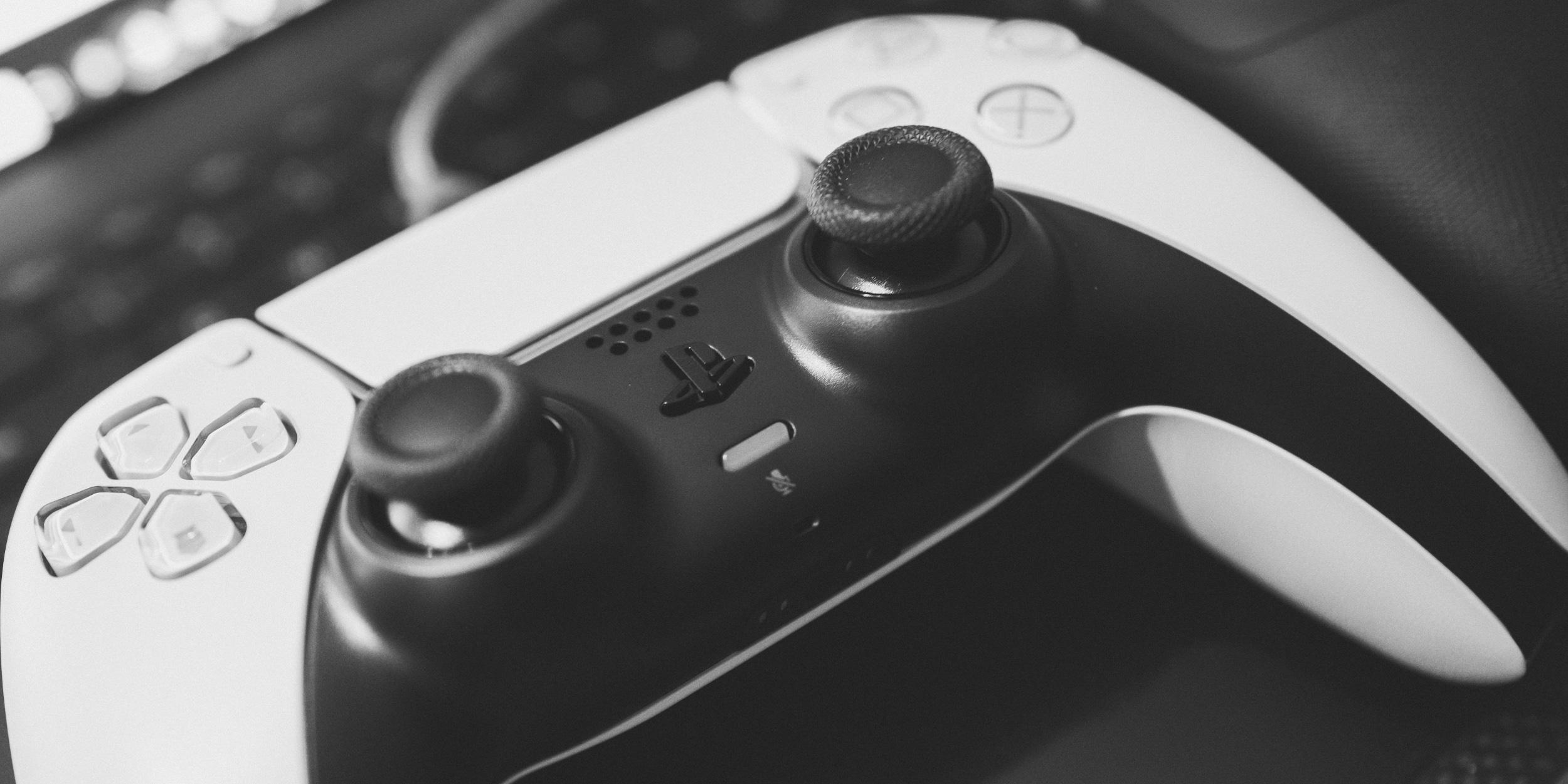 a closeup on a Playstation 5 controller