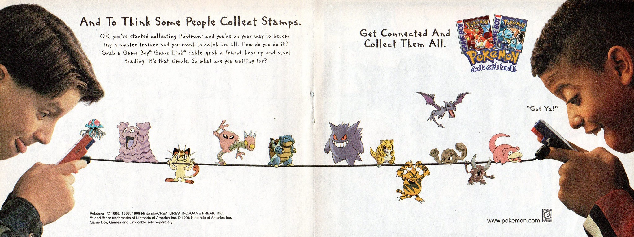 advertisement for Pokémon Red and Blue from 1998