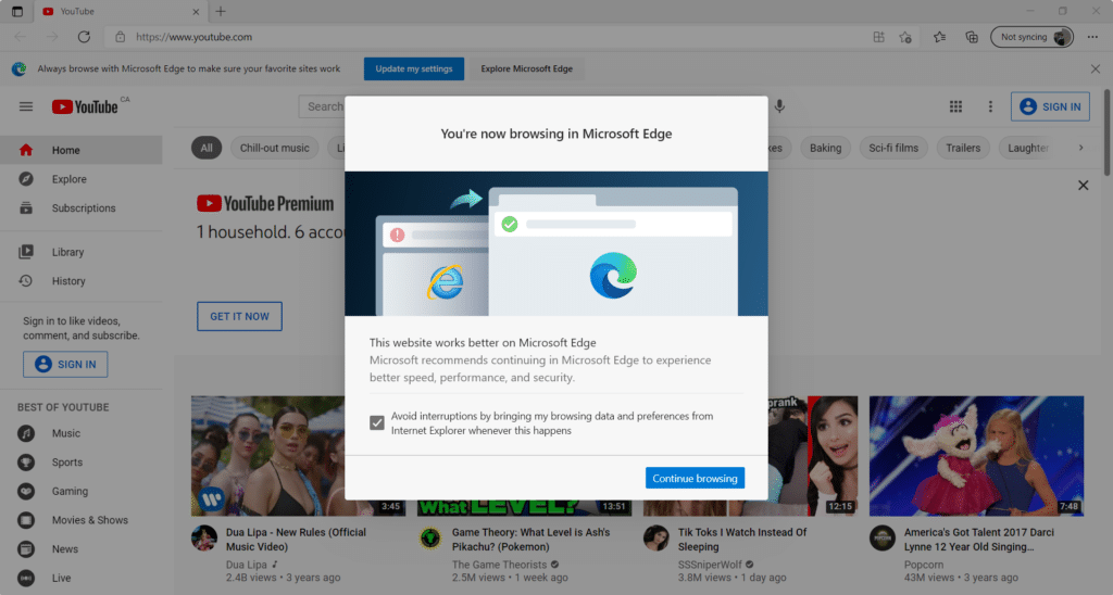A popup on YouTube explains that my computer has opened Microsoft Edge to prevent me from viewing the site with Internet Explorer