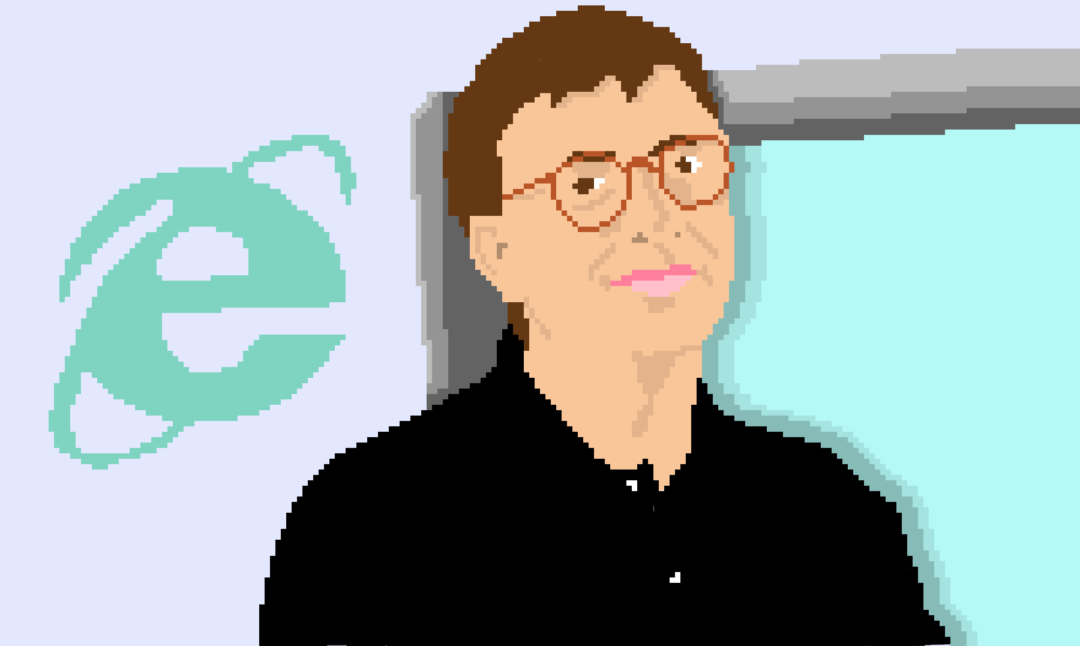 a pixel art drawing of Bill Gates and the Internet Explorer logo