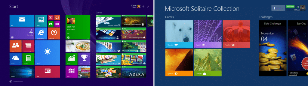 a composite shows the Windows 8 menu and Microsoft Software Collection interface