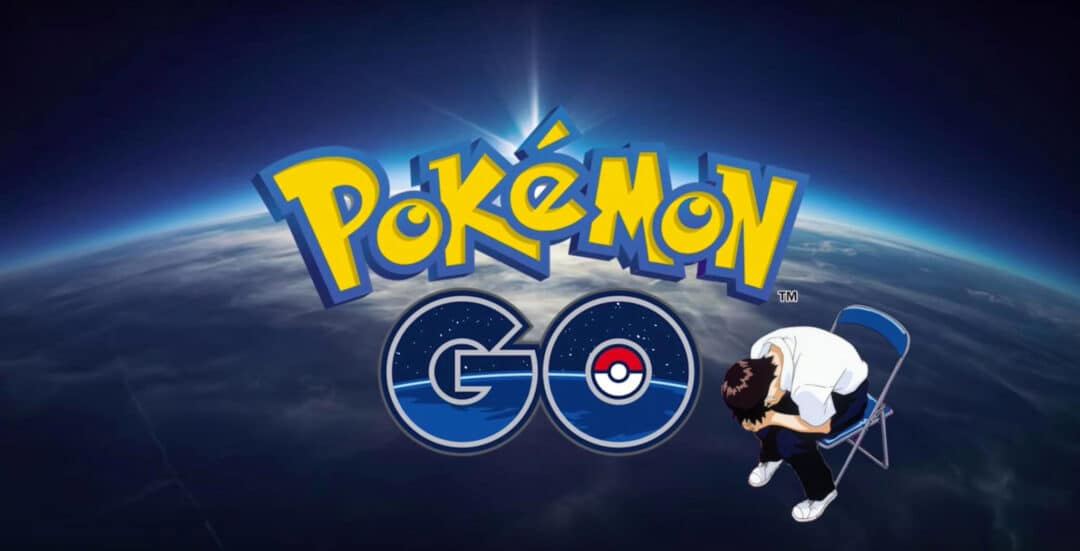 the Pokémon Go logo, with Shinji Ikari superimposed looking sad