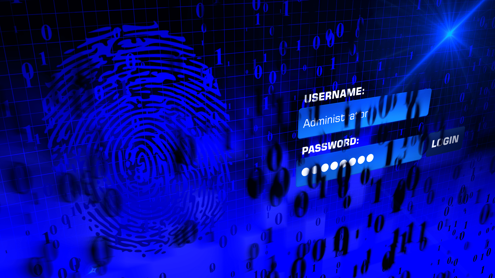 stylized login screen asks for a username and password